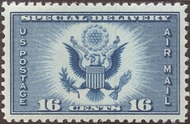 CE1 16c Airmail Special Delivery, Blue F-VF Mint NH Plate Block ce1pb