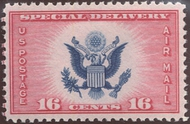 CE2 16c Airmail Special Delivery, Red & Blue F-VF Mint NH ce2nh