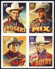 4446-9 44c Cowboys of the Silver Screen F-VF NH Block of 4 4446-9nh