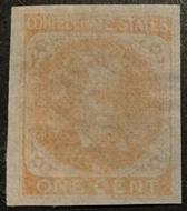Confederate States of America #14 1c Orange  F-VF Unused No Gum CSA014_ng