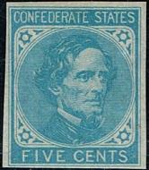 Confederate States of America #6  5c Light Blue  F-VF Unused   CSA006_og