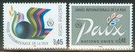 UNG 148-49  45c-1.40fr. lnt'l.PeaceYr UNG Inscription Blocks ung148mi
