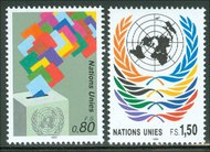 UNG 201-2   80c, 1.50 Fr. Definitives UN Geneva MI Blocks ung201mi
