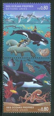 UNG 214-5   80c Clean Oceans, Att'd UN Geneva MI Blocks ung214mi