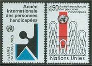 UNG  99-100 40c- 1.50 fr. Disabled UN Geneva Mint NH ung99
