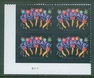 5019 Neon Celebrate, Reprint Dated 2015 Mint Plate Block of 4 4019pb