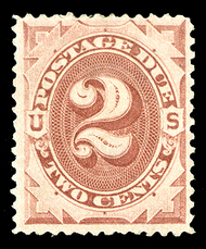 J  2 2c Brown 1879 Postage Due AVG-F Used j2usedavg