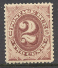 J 16 2c Red Brown 1884 Postage Due AVG Unused j16ogavg