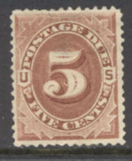 J 18 5c Red Brown 1884 Postage Due AVG-F Used j18uavg