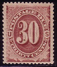 J 20 30c Red Brown 1884 Postage Due AVG-F Unused j20ogavg