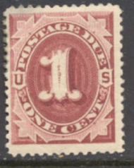 J 22 1c Bright Claret 1891 Postage Due AVG-F NH j22avgnh
