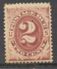 J 23 2c Bright Claret 1891 Postage Due AVG Unused j23ogavg