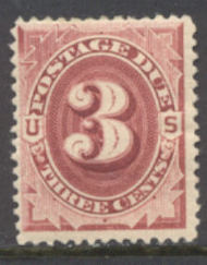 J 24 3c Bright Claret 1891 Postage Due AVG-F NH j24nhavg
