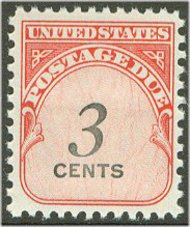 J 91 3c Carmine & Black Postage Due F-VF Used j91used