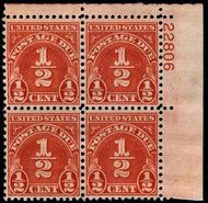J 79 1/2c Carmine Postage Due Plate Block of 4 F-VF NH j79pb