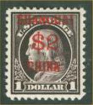 K16 $2 on $1 Franklin Violet Brn F-VF Unused K16og
