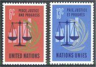 UNNY 213-14 6c-13c Peace Justice UN New York Mint NH unny213