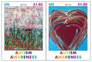 UNNY 1040-1 $1.05 Autism Awareness Inscription Block of 4 ny1041pb