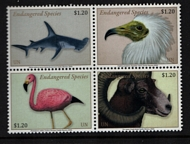 UNNY 1232-35 $1.20  Endangered Species Block of 4 Mint NH unny1232-35