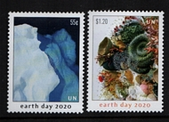 UNNY 1243-44 55c, $1.20 Earth Day 2020 Mint NH Singles unny1243-44