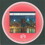 UNNY B1 3c + 6c Aids UN New York Mint NH Souv Sheet nyb1