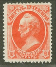 O 22 24c Interior Official Stamp Used Minor Defects o22usedmd