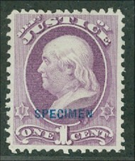 O25s 1c Justice Official AVG-F NGAI Specimen o25savg