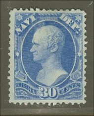 O 44 30c Navy Official Stamp AVG-F Used o44usedavg