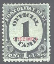 O 47S 1c Post Office Official Specimen F-VF NGAI o47sngai
