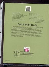 3052E    33c Coral Pink Rose Single USPS Souvenir Page 00-09
