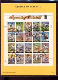 3408     33c Legends of Baseball MS20 USPS Souvenir Page 00-20