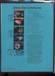 3443a    33c Deep Sea Creatures Strip of 5 USPS Souvenir Pag 00-26