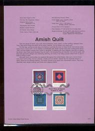 3524-27   34c Amish Quilt Block of 4 USPS Souvenir Page Jan-37