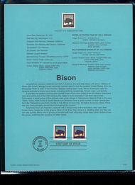 3467/3484  21c Bison Sheet & Booklet Singles USPS Souvenir Pag Jan-41