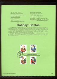 3537-40   34c Holiday Santas (4) USPS Souvenir Page Jan-46