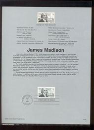 3545     34c James Madison USPS Souvenir Page Jan-48