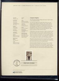 3557     34c Langston Hughes USPS Souvenir Page 3-Feb