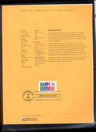 3558     34c Happy Birthday USPS Souvenir Page 4-Feb