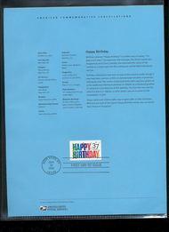 3695     37c Happy Birthday USPS Souvenir Page Feb-41