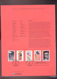 3776-80   37c Old Glory Stamps(5) USPS Souvenir Page 14-Mar