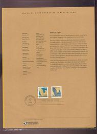 3801a (2)  (25c) Eagle Coil Stamp/ 2 varieties USPS Souvenir P 21-Mar