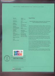4079     39c Happy Birthday USPS Souvenir Page Jun-35