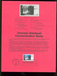2167 22c Arkansas Statehood USPS 8601 Souvenir Page 8601