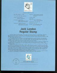 2182 25c Jack London  USPS 8602 Souvenir Page 8602
