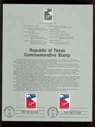 2204 22c Texas Statehood USPS 8607 Souvenir Page 8607