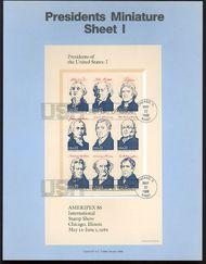2216-9 4 Presidents Sheets USPS 8612-5 Souvenir Pages 8612