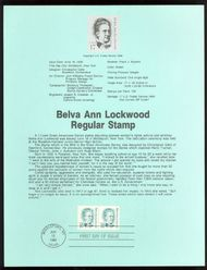 2178 17c Belva Ann Lockwood USPS 8617 Souvenir Page 8617