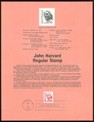 2190 56c John Harvard USPS 8622 Souvenir Page 8622
