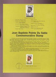 USPS Souvenir Page 87-7   2249      22c Jean Du Sable 87-7