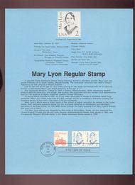 USPS Souvenir Page 87-9   2169      2c Mary Lyon 87-9